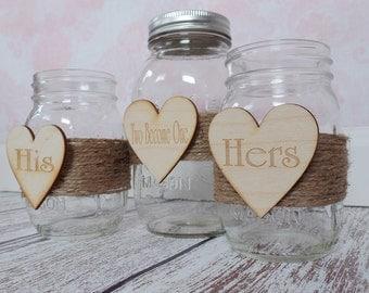 Two Become One Sand Unity Jar Set Rustic Wedding Unity Ceremony Mason Jars Engraved Heart Unity Sand Jar Mason Jar Wedding Unity Sand Jar