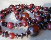 Burgundy necklace and earrings set - double-strand, delicate, short, brick red, pantone marsala, red wine