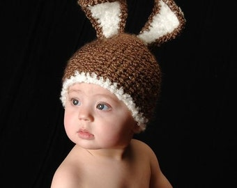 SALE - READY To SHIP - Newborn Crochet Baby Bunny Hat-Perfect for Easter Photo Prop
