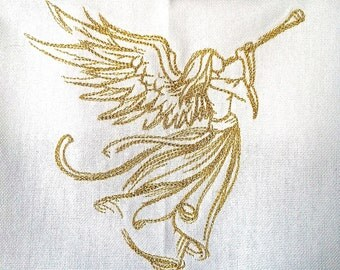 Christmas Angel heralding embroidered towel