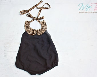 Vintage Shabby Chic  'Leopard Collar' Black Romper Playsuit Baby Girl