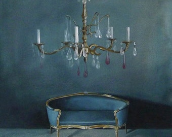 Still life Painting, The blue room, Original large print, crystal chandelier, antique furniture interior art, 15,7x15,7 inch