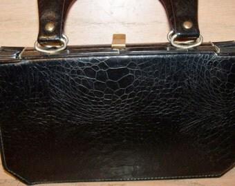 Vintage Black Verdi Handbag Purse Made in USA Accordion Bottom Christmas Birthday Gift for Her 1940s 1950s