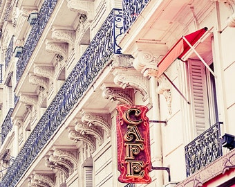 "Paris art print, Paris cafe photography, Paris in Red - ""Cafe de Paris"""
