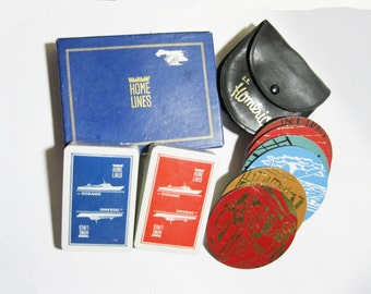 Home Lines SS Homeric 1960s Coasters & Playing Cards Vintage Cruise Line