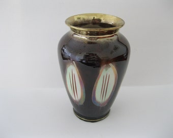 "Bay Keramik Vase West Germany High Gloss Brown with Art Deco Leaf Design 535 7"" tall - FL"