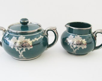 Creamer and Sugar Bowl with Lid Windsor Art Ware Gibson & Sons Green and Silver  Circa 1912 - FL