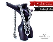 LOCKING Submissive Heart Collar with Vanilla Converter - Stainless Steel Byzantine - Made to Order