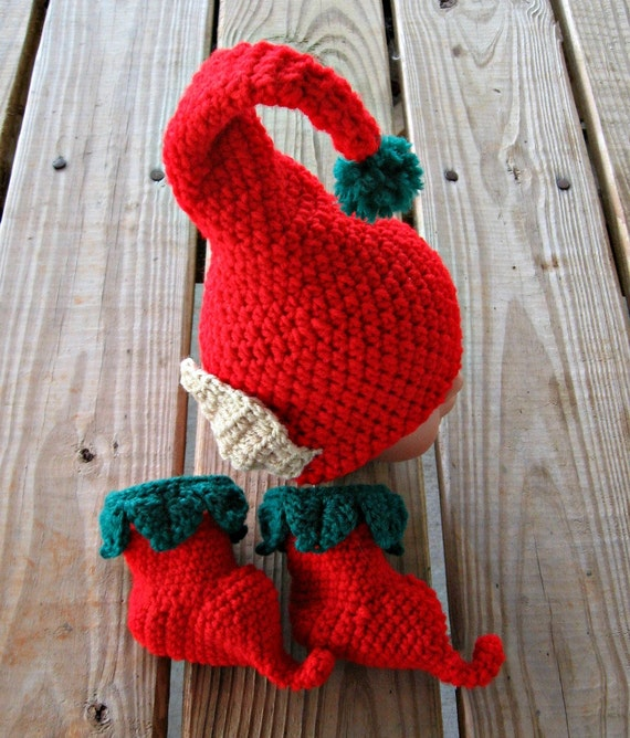 Crochet elf hat and baby booties gnome hat elf shoes christmas