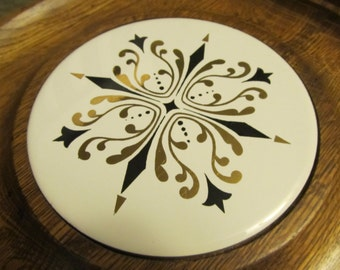 Vintage Cheese and Cracker Board - Round Ceramic Tile with Geometric Mid-Century Design