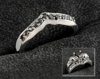 14K White Gold Wedding Band with Black Diamonds to match Black Diamond Engagement Ring,Shadow Band, Wedding Band
