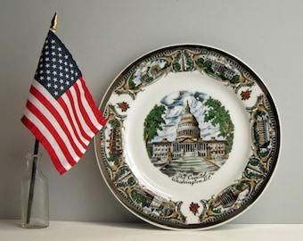 US Capitol souvenir plate - vintage Washington DC decorative plate - Washington landmarks - retro USA travel - plate decor