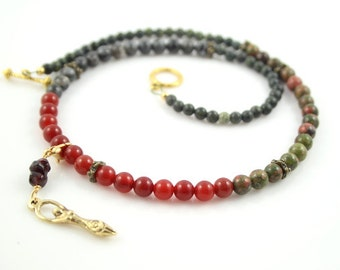 Pregnancy Tracking Necklace - Pick your charm - Sunlit Meadow - red carnelian, labradorite, unakite, garnet