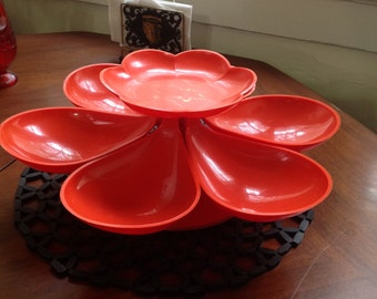 Sale Vintage 60s Atomic Kitchen Lazy Susan Flower Power Rotating Snack Server Party Dish Tray