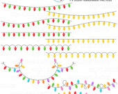 Christmas Lights Clipart Set - clip art set of string lights, christmas lights, tree - personal use, small commercial use, instant download