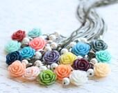Bridesmaid Rose Necklace - Flowergirl Rose Necklace - Rose Necklace - Mint Wedding - Vintage Wedding - Lilac Wedding - Peach Necklace - Navy
