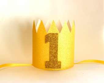 First Birthday Crown, Birthday Party Hat, Party Paper Crown, 1st Yellow Crown, Yellow and Gold Birthday, You are My Sunshine, Twinkle Party