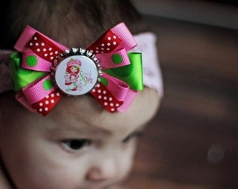 """Strawberry's Sweet Style - Strawberry Shortcake inspired loopy hair bow - 3"""""""
