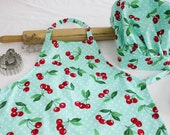 Retro Cherries on Aqua Child Apron and Adjustable Chef Hat