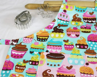 Sweet Cupcakes Youth Apron - teal with pink cupcake pocket