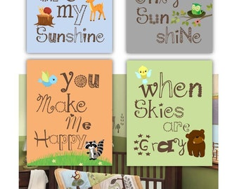 Art for kids room, // Woodland Nursery Decor // Forest Animal Art // You Are My Sunshine Art // Woodland Animals Art//  in 8x10 PRINTS ONLY