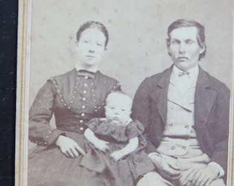 Antique CDV Photograph Civil War Era Family with Eagle Back Mark Wellsville NY