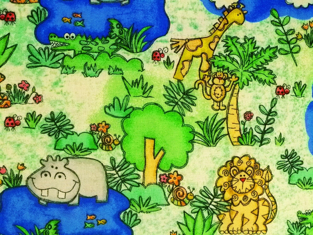 Clearance ae nathan fabric jungle time 2406 44 novelty for Kids jungle fabric