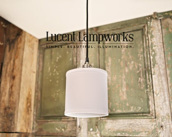"Lighting With 6"" Diameter Homespun Cream Fabric Drum Shade"