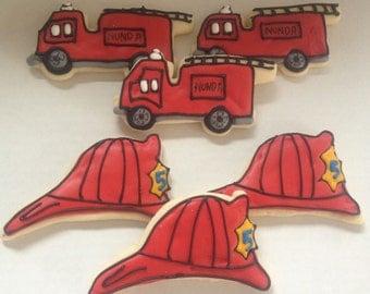 Fire Truck sugar cookies