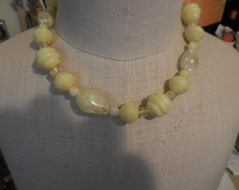 Vintage 1950s to 1960s Yellow Plastic Beaded Necklace Made in Western Germany Silver Tone Adjustable Short