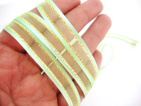Nylon Knitting Ribbon : Light green nylon ribbon with gold metallic accent