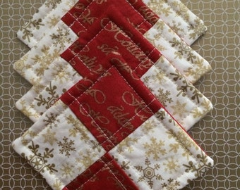 Hostess Gift Set - Quilted Coaster Set - Party Gift - Christmas Coasters - Holiday Coasters  - Christmas Mug Rugs - Drink Coasters