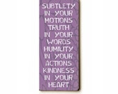 Wooden Art Sign Planked Kindness in Your Heart wall decor lavender typography humility truth