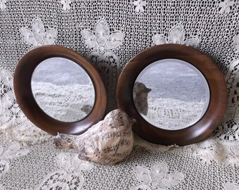 Wood Mirror pair, Repurposed, Concaved, round, PAIR