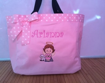 Personalized Angel Girl with Lamb Tote Bag Baby Diaper Bag