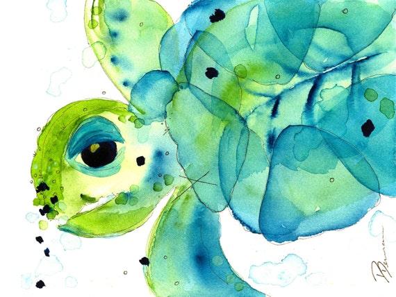 Turtle Bathroom Decor: Sea Turtle Art Print Child's Room Decor Colorful Sea