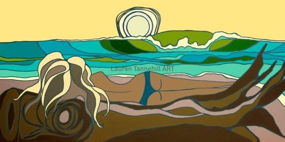 Surf Art Giclee Print, Surfer Girl Watches the Sunset into the Ocean by Lauren Tannehill ART