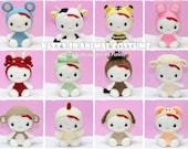 INSTANT DOWNLOAD PDF Pattern: 12 Amigurumi Kitty in Chinese Zodiac Costume