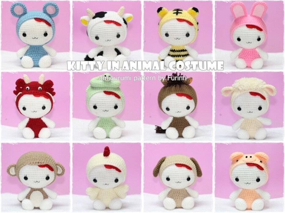 Amigurumi Zodiac Patterns : INSTANT DOWNLOAD PDF Pattern: 12 Amigurumi Kitty in by furinn