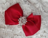 Dark Red Satin Hair Bow with Rhinestone Center, Deep Red Flower Girl Hair Bow, Holiday Hair Bow, Christmas Bow, Pageant Bow