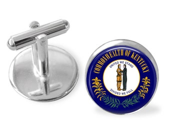 KENTUCKY STATE Flag Cufflinks / Kentucky cuff links /  Bluegrass State  / state flag jewelry / Groomsmen Gift / Personalized Gift for Him