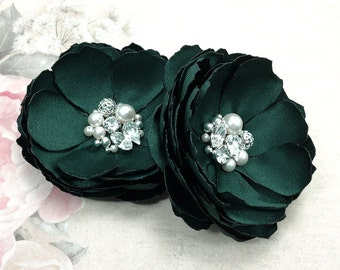 Hunter Green Satin Flower Hair - Hair, Shoe Clip, Brooch a for Bride, Bridesmaid, Photo Prop Female Mother Sister Teacher Gift - Kia