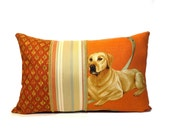 Labrador retriever pillow, Lab cushion cover, pet pillow, dog print pillow, orange