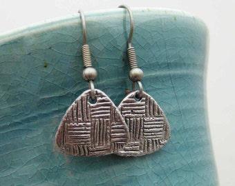 Handmade Dangle Earrings, Steel Dangle Earrings, Handmade Steel Earrings, Triangle Dangle Earrings, Long Dangle Earrings, Gun Metal Earrings