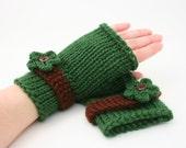 DIGITAL PATTERN:Easy Knit Fingerless Gloves Pattern,Knit Gloves Pattern,Knit Flower Pattern,Fingerless Mitts,Fingerless Glove Pattern,Gift