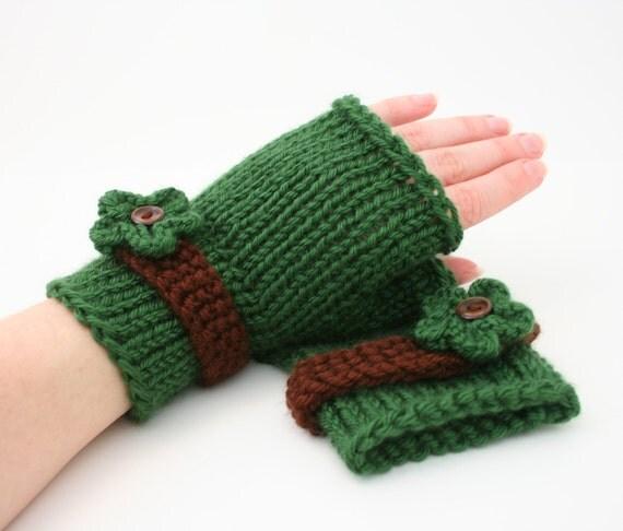 Knitting Patterns Uk Fingerless Gloves : Pdf digital pattern easy knit fingerless gloves patternknit
