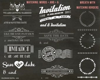 Wedding clipart, invitation, Save the date clipart, digital, clipart, digital clip art, huge pack, chalkboard background- 655
