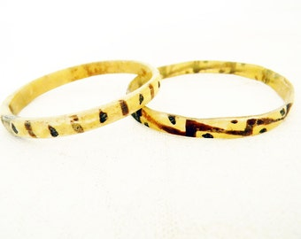 Antique Horn Bangle Bracelets Pair Hand Painted Organic Bone