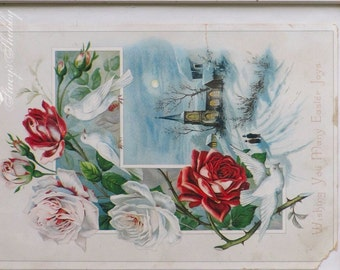 Charming Antique EASTER Print In SWING Picture FRAME, Roses, Doves, Shabby Chic, Farmhouse