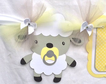 Lamb baby shower, lamb banner, lamb decorations, gender reveal banner, gender neutral banner, yellow and gray decorations, photo prop